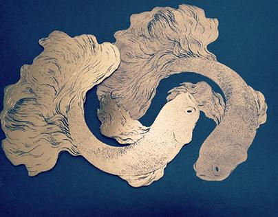 Betta fish linocut No.3