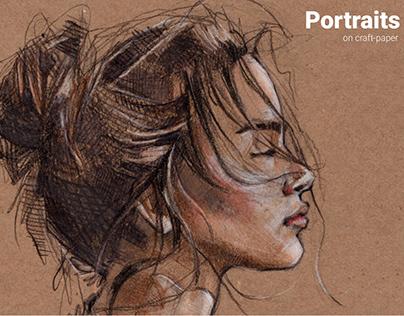 Portraits on craft-paper