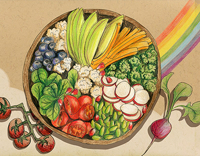 Food Illustration - Eat the rainbow bowl