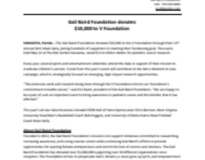 Gail Baird Foundation donates $10,000 to V Foundation