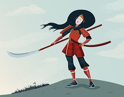 Tomoe Gozen, The Female Samurai - Digital Illustration