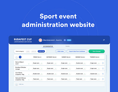 Sport event administration website
