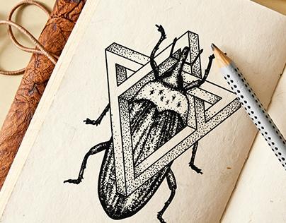 Geometric Tattoo - Beetle