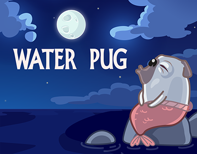 Water Pug. Telegram official sticker pack.