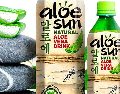 """""""ALOE SUN"""" Natural Aloe Vera Drink. Design Label."""