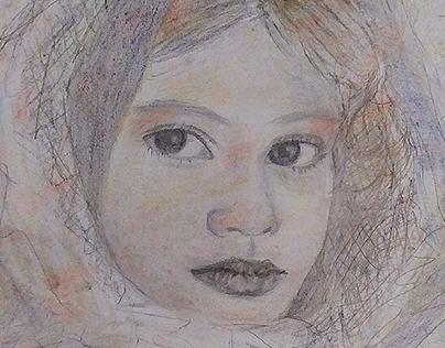 Ilustração feminina em giz pastel