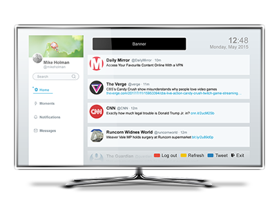 Concept Twitter app for internet enabled TV/STBs