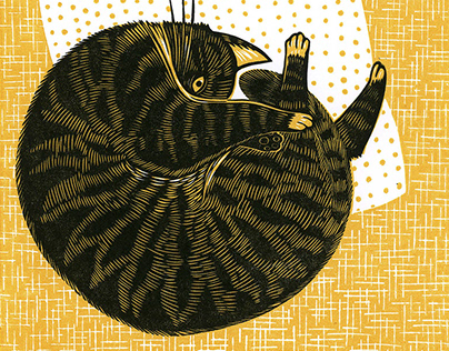linocut prints: Cats (2016)
