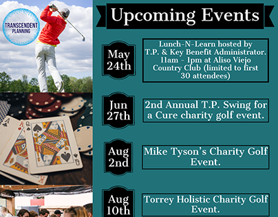 Basic Upcoming Events Flyer with Hyperlinks to events.