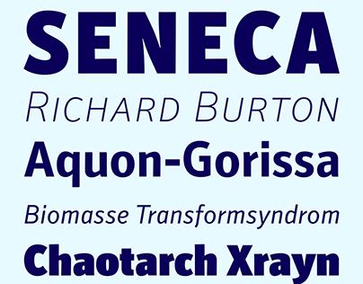 Secca font series specimen