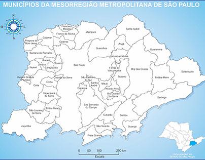 Mapa Municípios da Mesorregião Metropolitana de SP