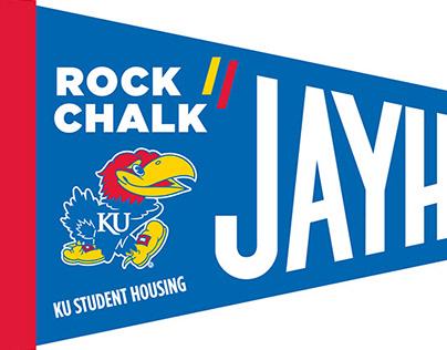 Rock Chalk Jayhawk pennants