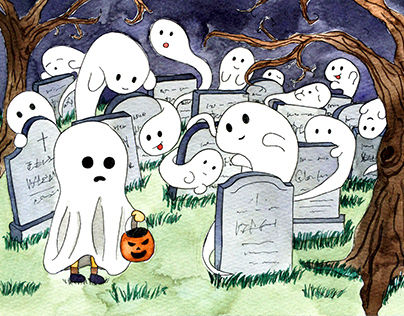 Halloween Postcard Series : watercolor illustrations