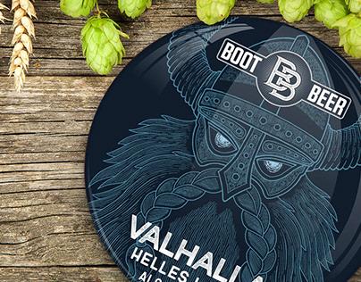 Valhalla Beer Label Design for Boot Beer Brewery