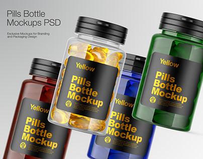 Plastic Pills Bottle Mockup PSD