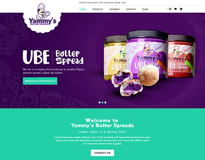 Yammy's Butter Spreads website Design