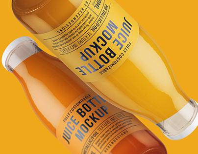 Juice Round Bottle Mockup+Free Sample