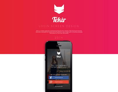 Tekir App Login Screen Design