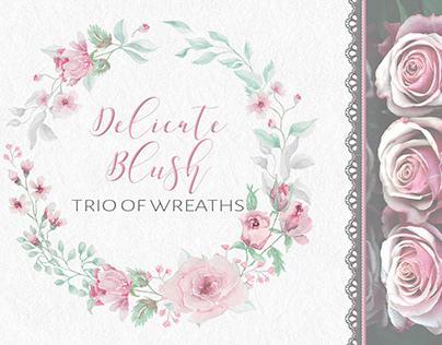 Delicate blush trio of watercolor wreaths