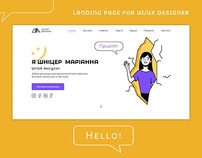 LANDING PAGE FOR UI/UX DESIGNER