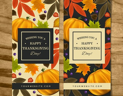 Vintage banners of Thanksgiving Day