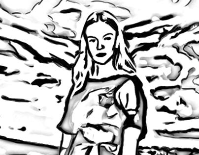 Jeune femme dans un pré