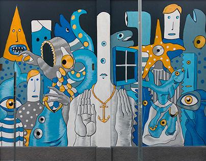 Gods in Love + Raffaele Fiorella - Wall in Bari - Italy
