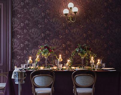 Festive table setting at restaurant Maiasmokk