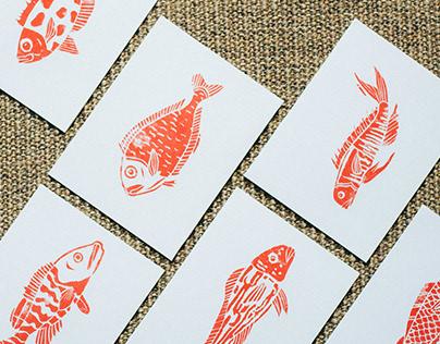 Linocut Fish Postcards
