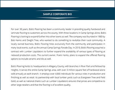 Corporate Bio Sample