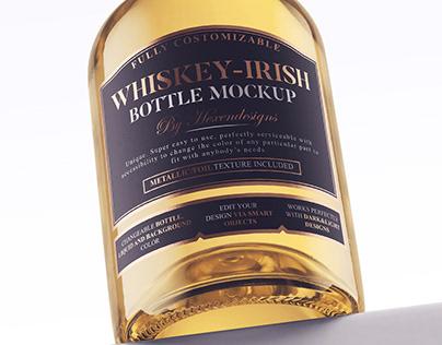 Whiskey-Irish Bottle Mockup+Free Version