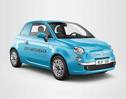 Fiat 500 City Car Mockup