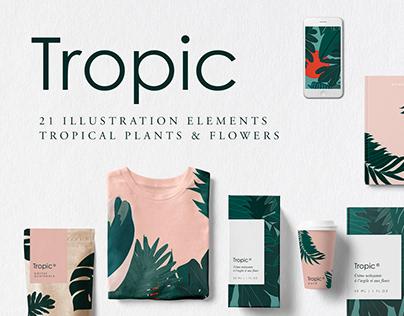 Tropic   Tropical Plants & Flowers Illustration Kit