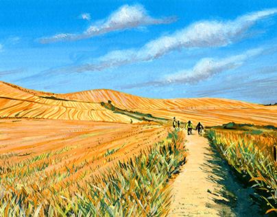 Road to Santiago de Compostela landscape (gouache).