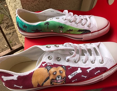 Converse Customs Dogs & Palm Trees