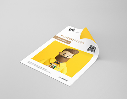Curly Paper Flyer Mock-up