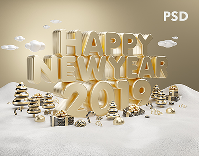 Happy New Year Gold 2019