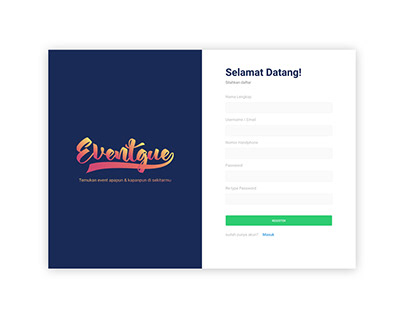 Sign Up Page EventGue