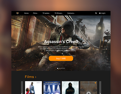 Landing page for Streaming TV site.