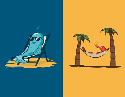 La Pesca. Ilustraciones para redes sociales