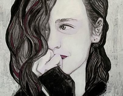 Charcoal and acrylic portrait