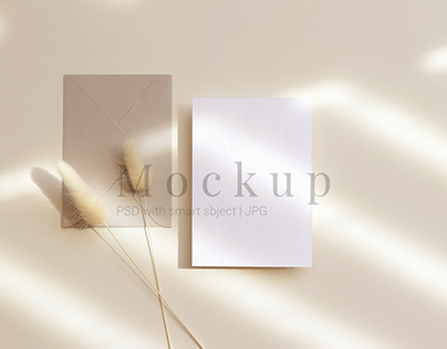 Mockup Card With Envelope And Dry Flowers