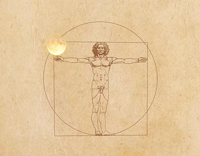 Vitruvian Man and moon