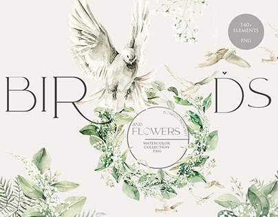Birds and flowers. Watercolor clipart