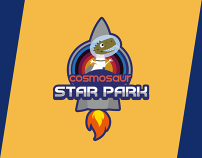 Zoo logo on a spaceship with dinosaurs