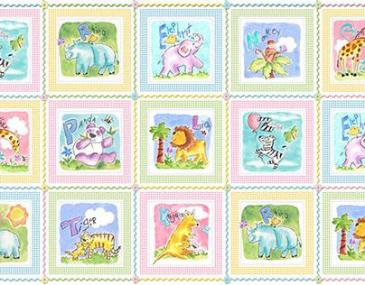 Gingham Animals Textile Designs
