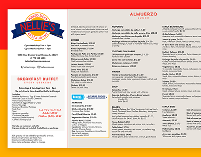 Menu Redesign: Nellie's Restaurant