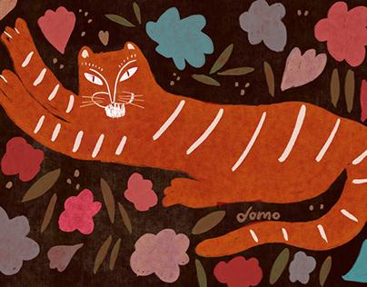 Tigre con flores