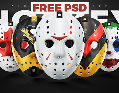 Free Hockey face mask PSD mockup template
