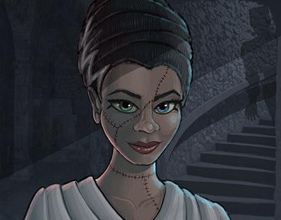 Fresco: commission paint me as Bride of Frankenstein